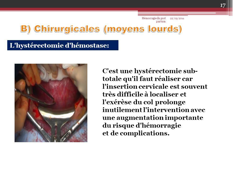 L'hystérectomie d'hémostase: C'est une hystérectomie sub- totale qu'il faut réaliser car l'insertion cervicale est souvent très difficile à localiser