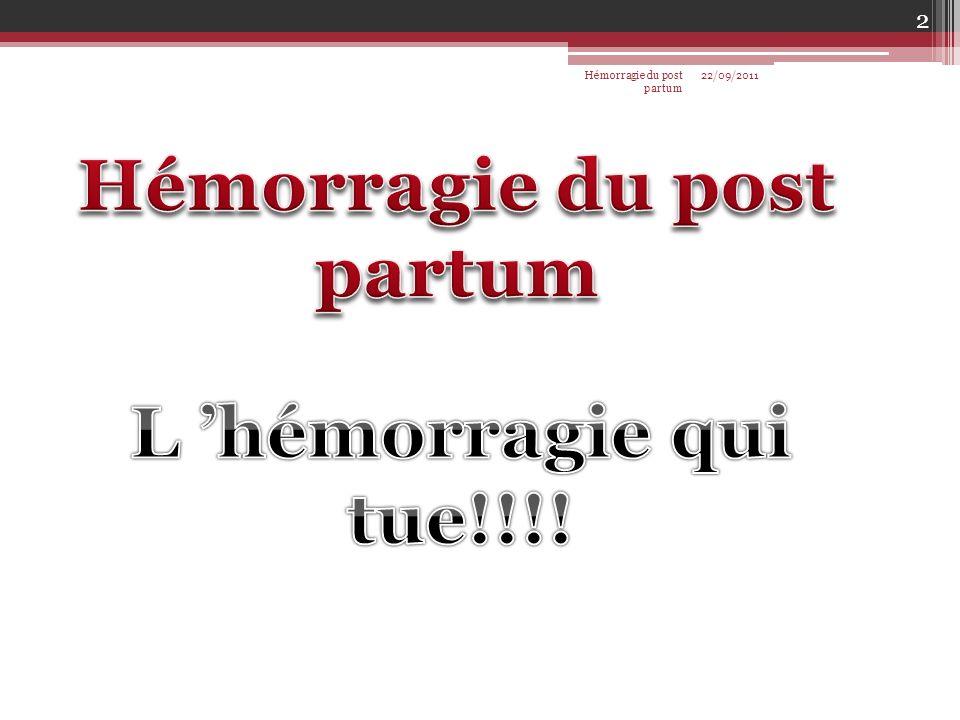 22/09/2011 2 Hémorragie du post partum