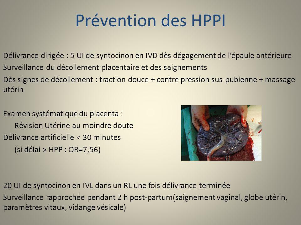 Prévention des HPPI Délivrance dirigée : 5 UI de syntocinon en IVD dès dégagement de lépaule antérieure Surveillance du décollement placentaire et des