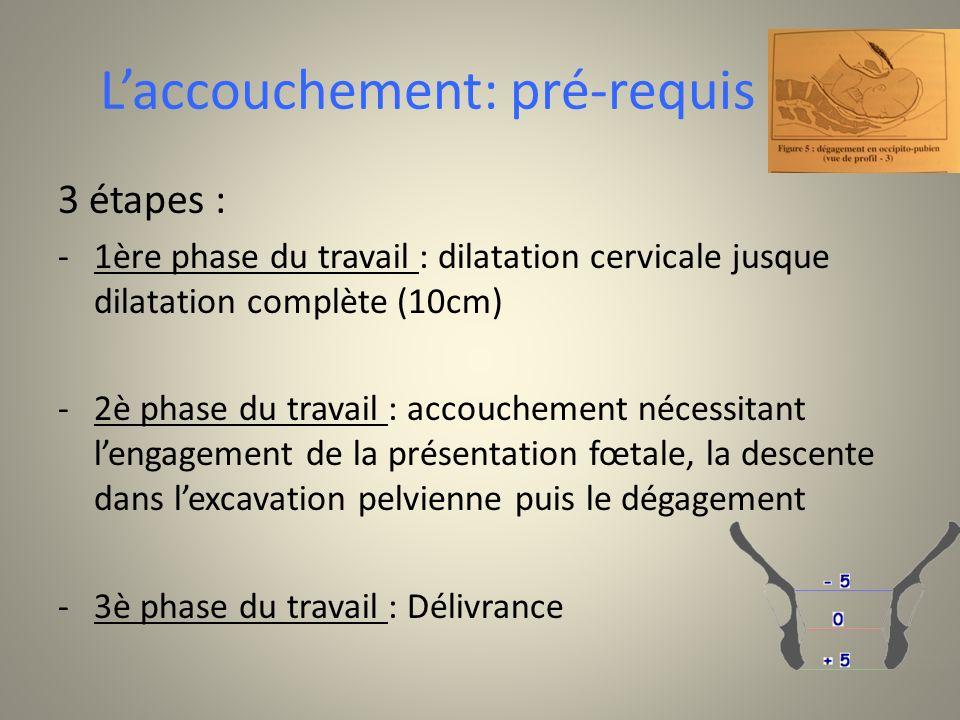 Laccouchement: pré-requis 3 étapes : -1ère phase du travail : dilatation cervicale jusque dilatation complète (10cm) -2è phase du travail : accoucheme