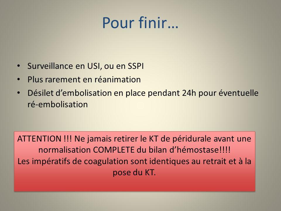 Pour finir… Surveillance en USI, ou en SSPI Plus rarement en réanimation Désilet dembolisation en place pendant 24h pour éventuelle ré-embolisation AT