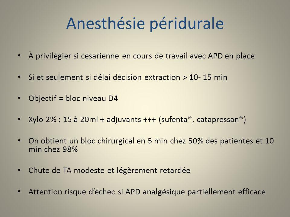 Anesthésie péridurale À privilégier si césarienne en cours de travail avec APD en place Si et seulement si délai décision extraction > 10- 15 min Obje