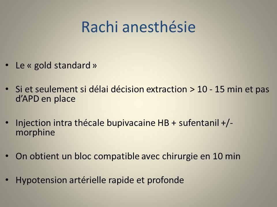 Rachi anesthésie Le « gold standard » Si et seulement si délai décision extraction > 10 - 15 min et pas dAPD en place Injection intra thécale bupivaca