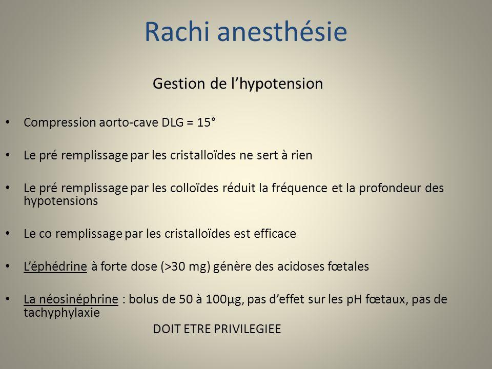 Rachi anesthésie Gestion de lhypotension Compression aorto-cave DLG = 15° Le pré remplissage par les cristalloïdes ne sert à rien Le pré remplissage p