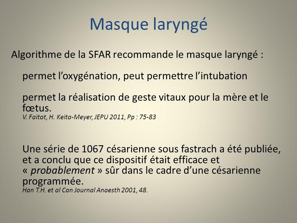Masque laryngé Algorithme de la SFAR recommande le masque laryngé : permet loxygénation, peut permettre lintubation permet la réalisation de geste vit