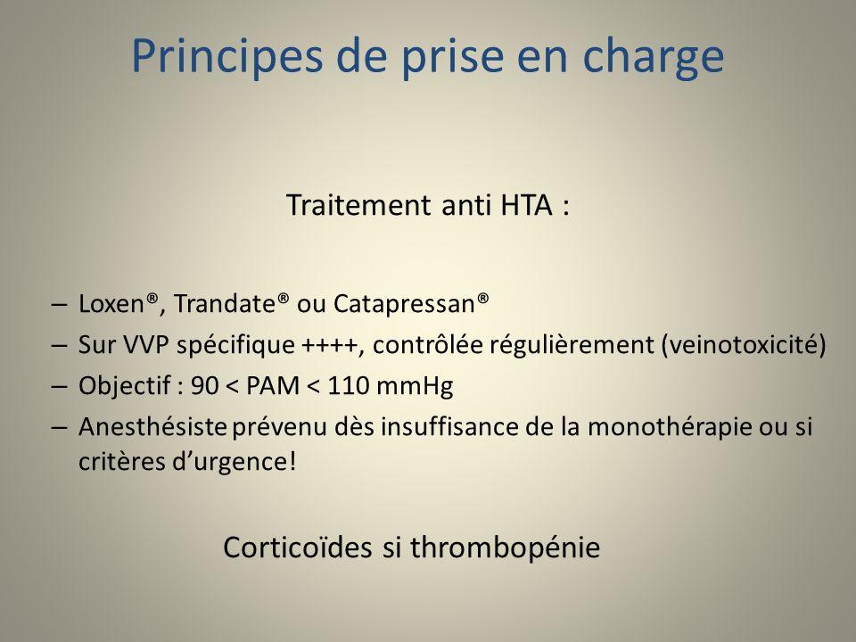 Principes de prise en charge Traitement anti HTA : – Loxen®, Trandate® ou Catapressan® – Sur VVP spécifique ++++, contrôlée régulièrement (veinotoxici
