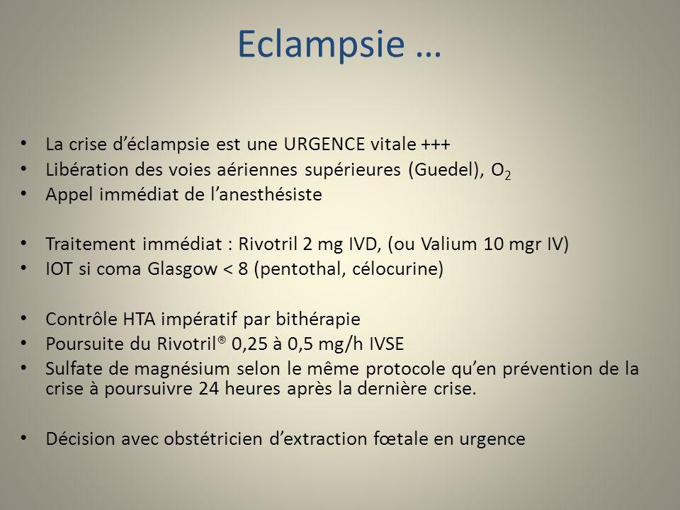 Eclampsie … La crise déclampsie est une URGENCE vitale +++ Libération des voies aériennes supérieures (Guedel), O 2 Appel immédiat de lanesthésiste Tr