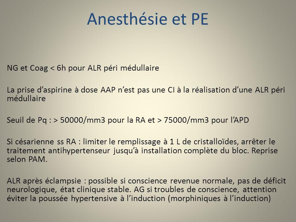 Anesthésie et PE NG et Coag < 6h pour ALR péri médullaire La prise daspirine à dose AAP nest pas une CI à la réalisation dune ALR péri médullaire Seui