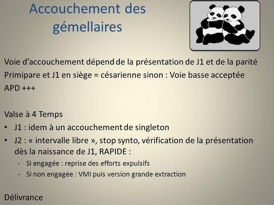 Accouchement des gémellaires Complications : -Rétraction de col : dérivés nitrés -Accidents funiculaires -Accrochage des mentons (exceptionnel) : grossesse monochoriales -Césarienne sur J2