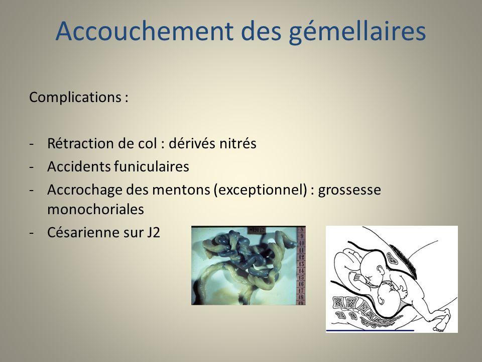 Accouchement des gémellaires Complications : -Rétraction de col : dérivés nitrés -Accidents funiculaires -Accrochage des mentons (exceptionnel) : gros