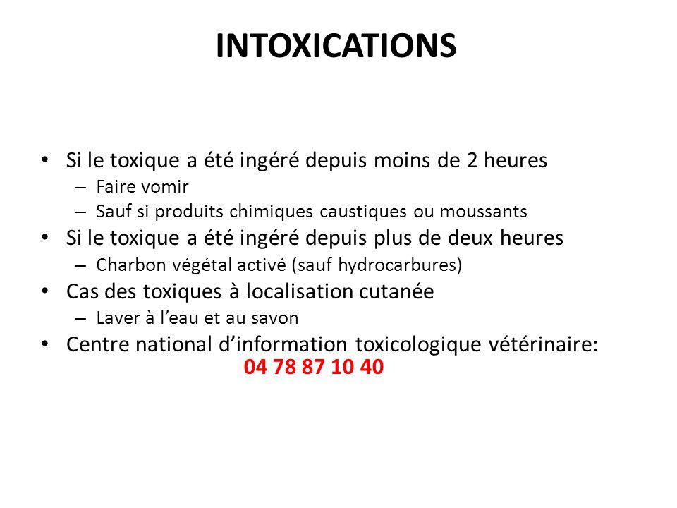 INTOXICATIONS Si le toxique a été ingéré depuis moins de 2 heures – Faire vomir – Sauf si produits chimiques caustiques ou moussants Si le toxique a é