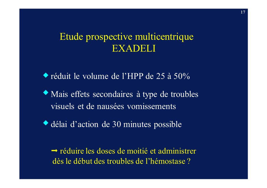 17 Etude prospective multicentrique EXADELI réduit le volume de lHPP de 25 à 50% Mais effets secondaires à type de troubles visuels et de nausées vomi