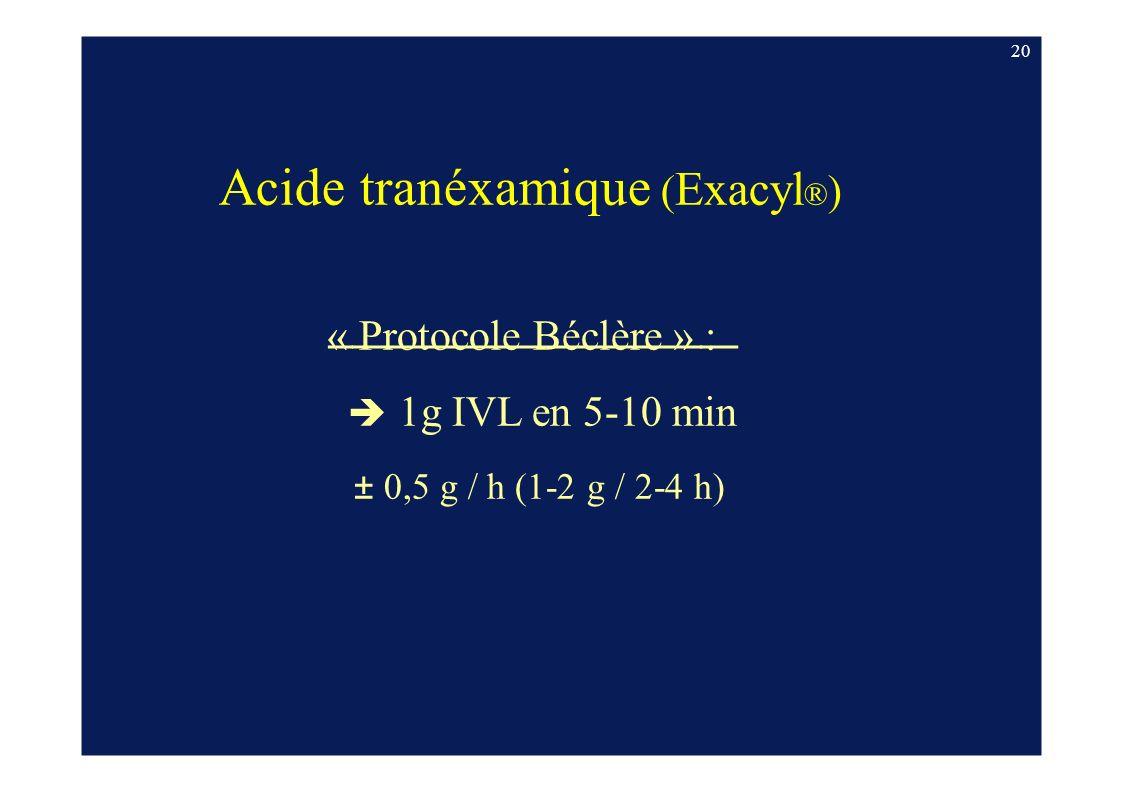 20 Acide tranéxamique ( Exacyl ® ) « Protocole Béclère » : 1g IVL en 5-10 min ± 0,5 g / h (1-2 g / 2-4 h)