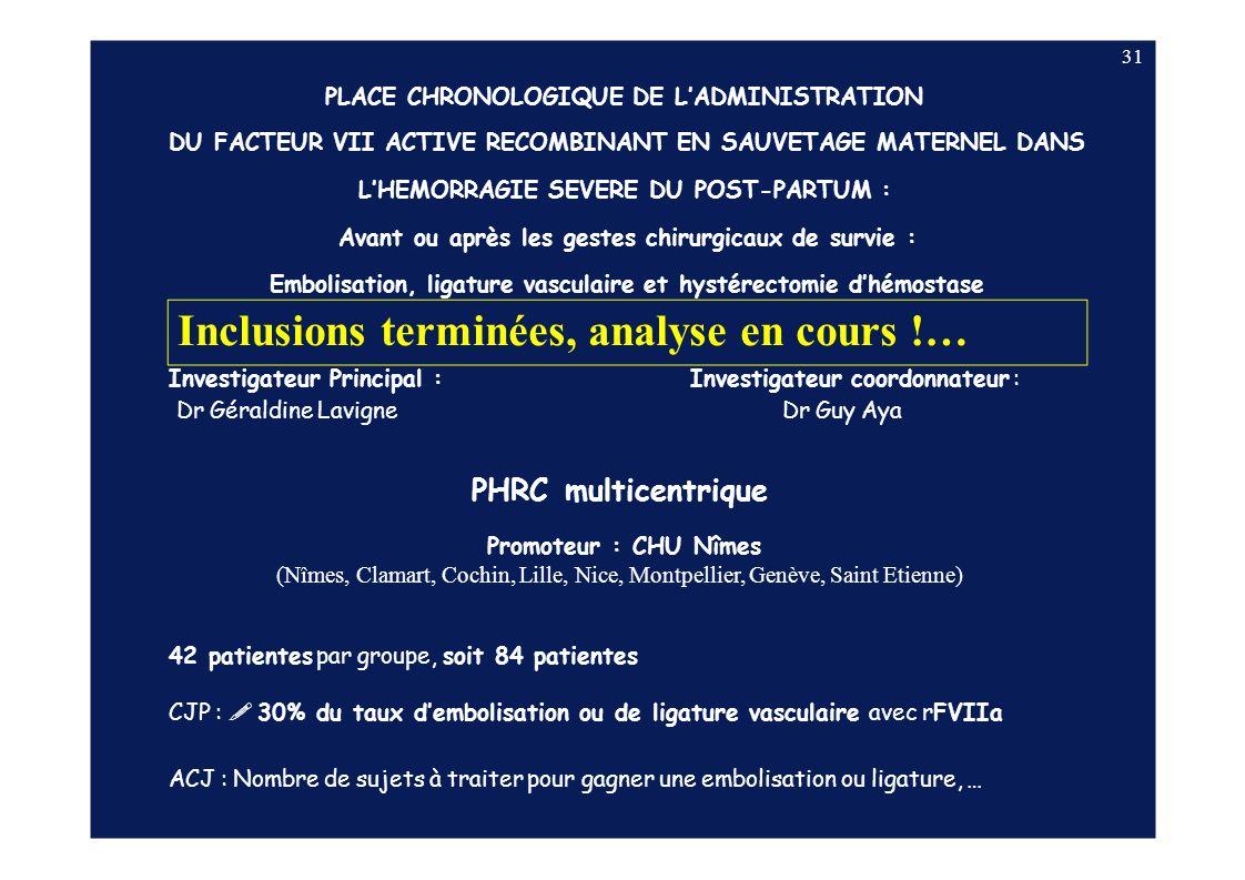 31 Investigateur Principal : Dr Géraldine Lavigne Investigateur coordonnateur : Dr Guy Aya PHRC multicentrique Promoteur : CHU Nîmes (Nîmes, Clamart,