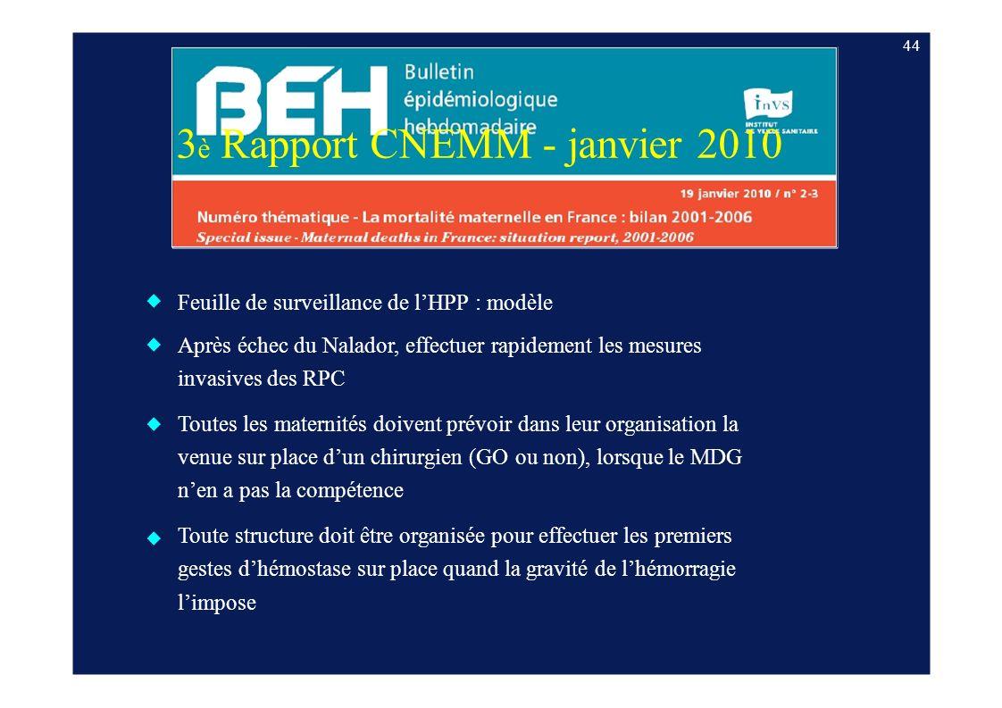 3 è Rapport CNEMM - janvier 2010 Feuille de surveillance de lHPP : modèle Après échec du Nalador, effectuer rapidement les mesures invasives des RPC T