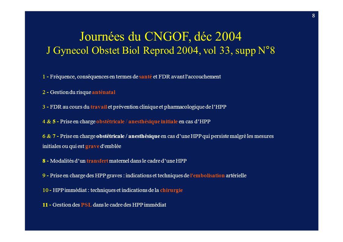 8 Journées du CNGOF, déc 2004 J Gynecol Obstet Biol Reprod 2004, vol 33, supp N°8 1 - Fréquence, conséquences en termes de santé et FDR avant l'accouc