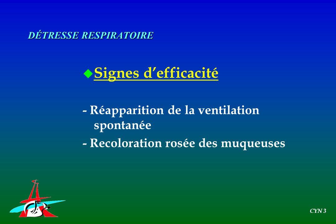 u Signes defficacité - Réapparition de la ventilation spontanée - Recoloration rosée des muqueuses DÉTRESSE RESPIRATOIRE CYN 3