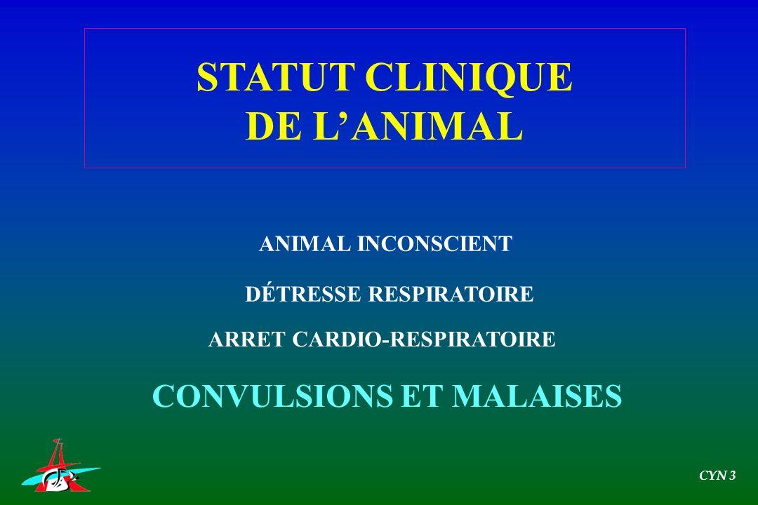 ANIMAL INCONSCIENT DÉTRESSE RESPIRATOIRE ARRET CARDIO-RESPIRATOIRE CONVULSIONS ET MALAISES STATUT CLINIQUE DE LANIMAL CYN 3