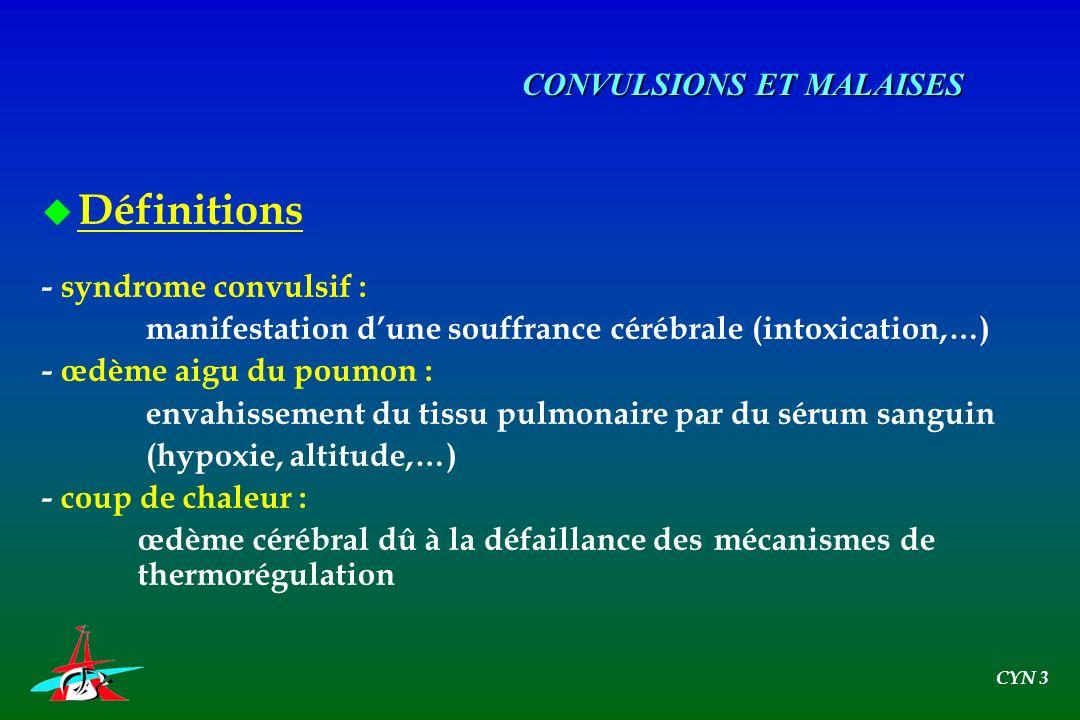 u Définitions - syndrome convulsif : manifestation dune souffrance cérébrale (intoxication,…) - œdème aigu du poumon : envahissement du tissu pulmonai