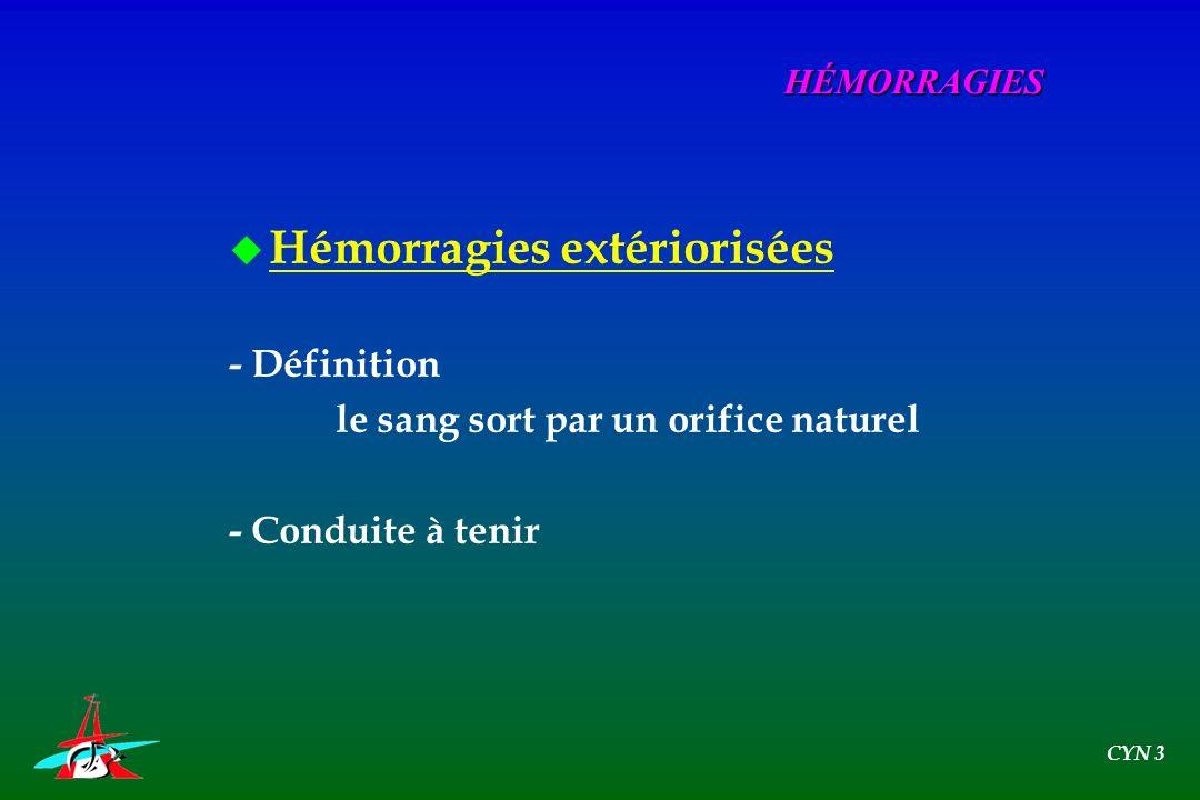 u Hémorragies extériorisées - Définition le sang sort par un orifice naturel - Conduite à tenir HÉMORRAGIES CYN 3