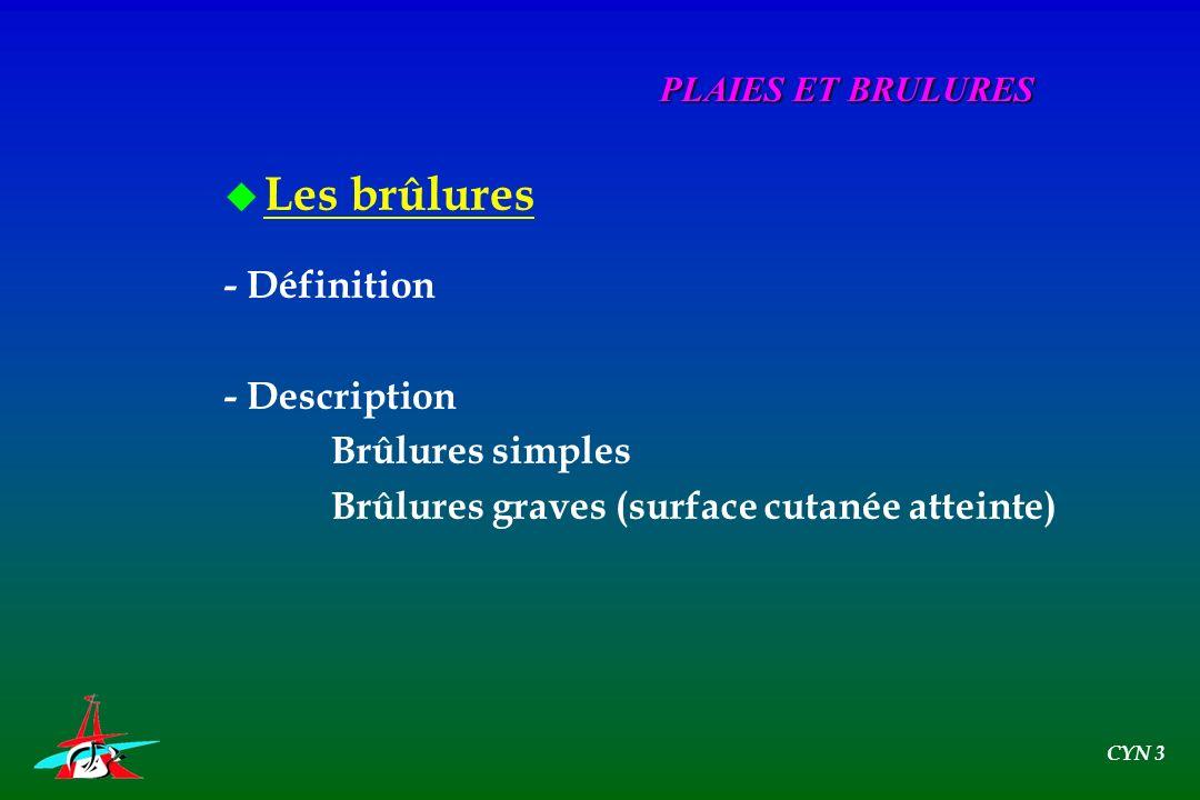 u Les brûlures - Définition - Description Brûlures simples Brûlures graves (surface cutanée atteinte) PLAIES ET BRULURES CYN 3