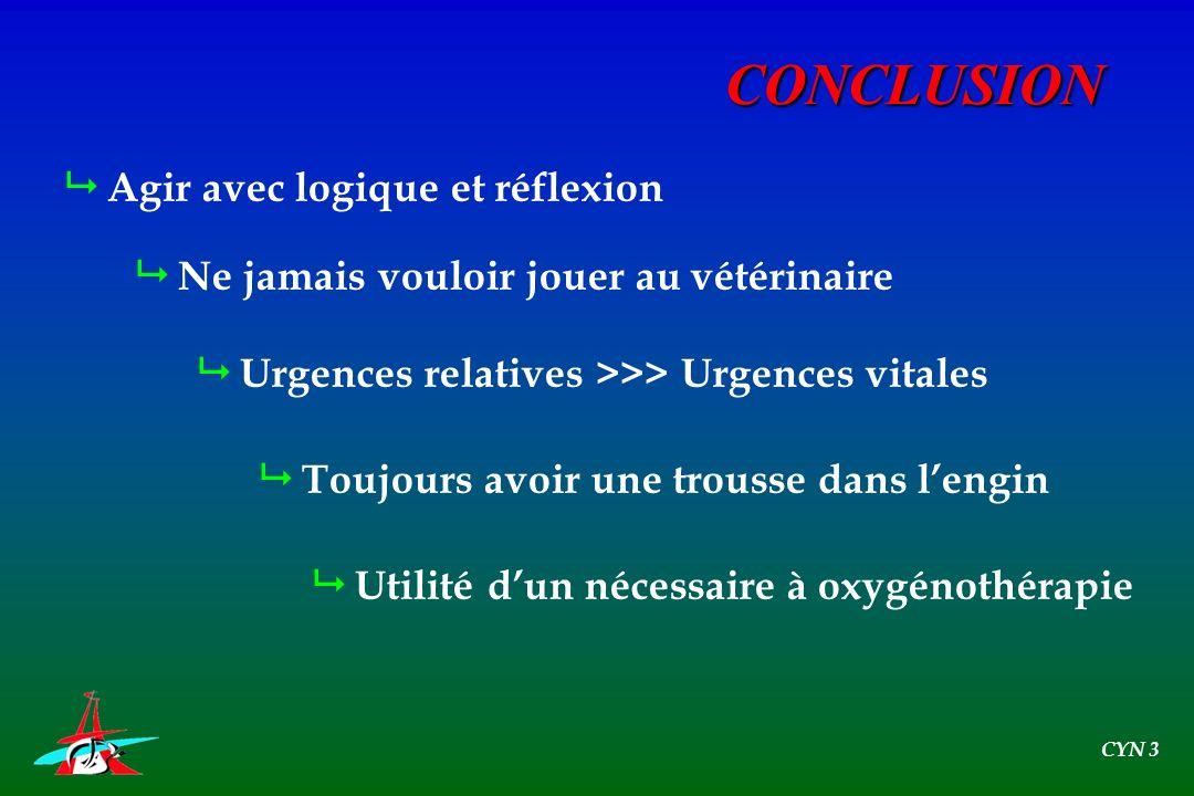 CONCLUSION Agir avec logique et réflexion Ne jamais vouloir jouer au vétérinaire Urgences relatives >>> Urgences vitales Toujours avoir une trousse da