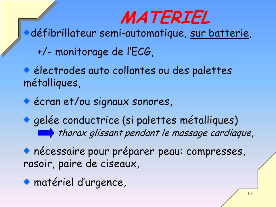 12 défibrillateur semi-automatique, sur batterie, +/- monitorage de lECG, électrodes auto collantes ou des palettes métalliques, écran et/ou signaux s