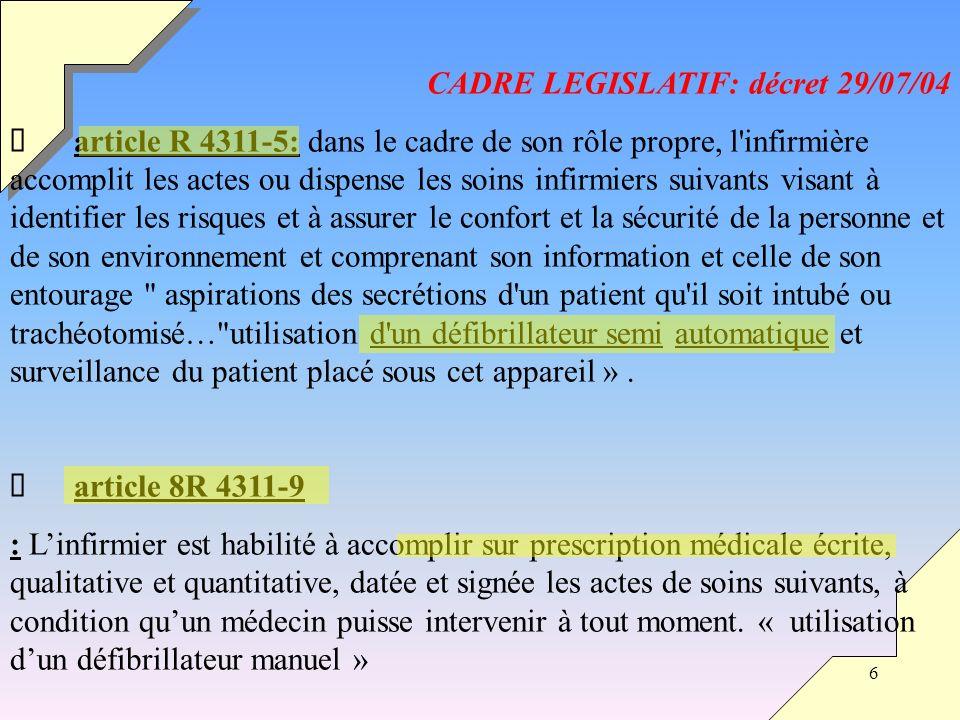 6 CADRE LEGISLATIF: décret 29/07/04 article R 4311-5: dans le cadre de son rôle propre, l'infirmière accomplit les actes ou dispense les soins infirmi