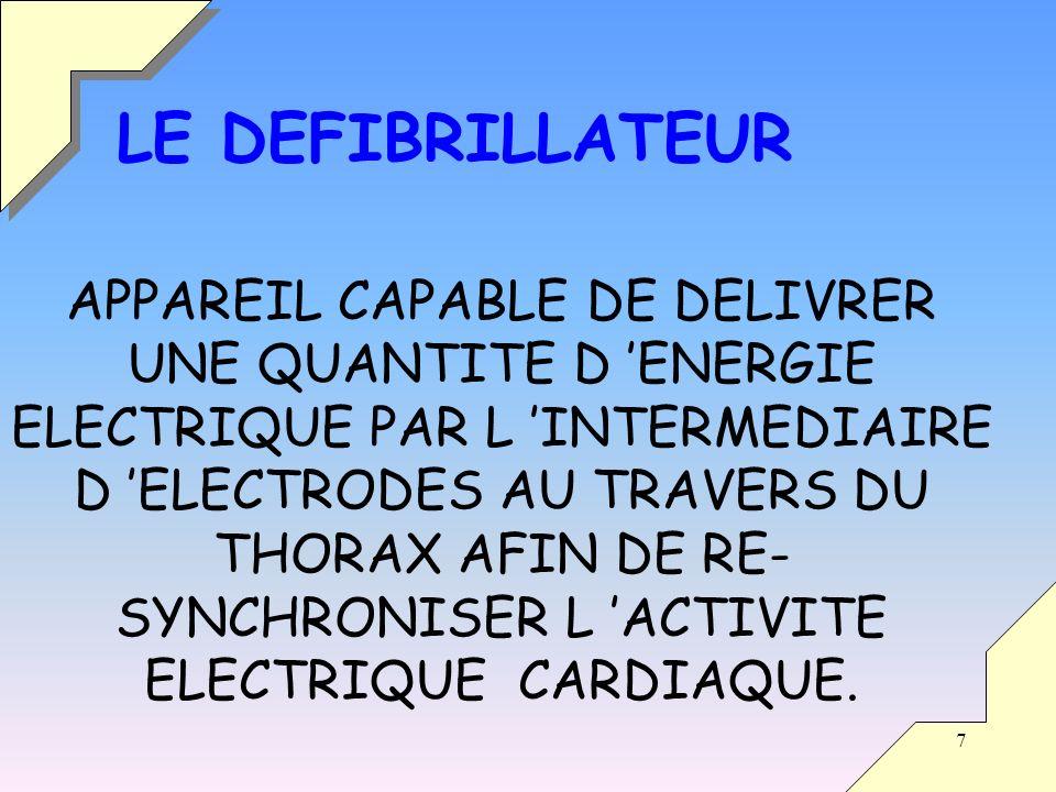 7 APPAREIL CAPABLE DE DELIVRER UNE QUANTITE D ENERGIE ELECTRIQUE PAR L INTERMEDIAIRE D ELECTRODES AU TRAVERS DU THORAX AFIN DE RE- SYNCHRONISER L ACTIVITE ELECTRIQUE CARDIAQUE.