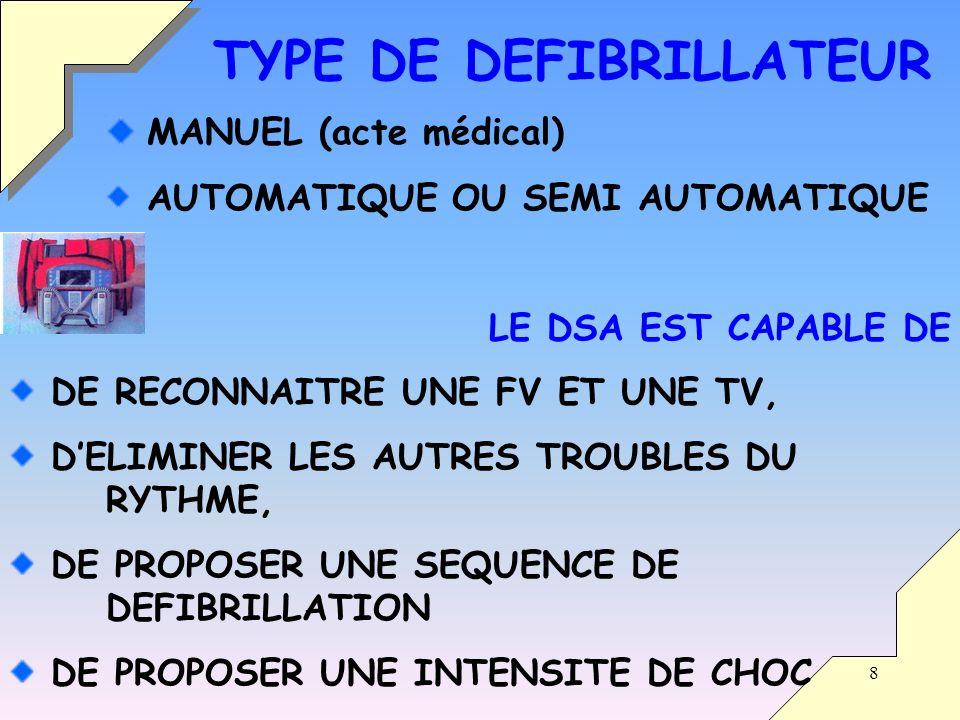 8 MANUEL (acte médical) AUTOMATIQUE OU SEMI AUTOMATIQUE LE DSA EST CAPABLE DE DE RECONNAITRE UNE FV ET UNE TV, DELIMINER LES AUTRES TROUBLES DU RYTHME, DE PROPOSER UNE SEQUENCE DE DEFIBRILLATION DE PROPOSER UNE INTENSITE DE CHOC TYPE DE DEFIBRILLATEUR