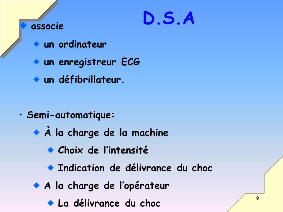 9 associe un ordinateur un enregistreur ECG un défibrillateur. Semi-automatique: À la charge de la machine Choix de lintensité Indication de délivranc