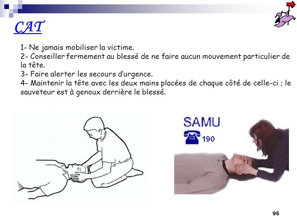94 Dans ce cas, nous pouvons craindre une atteinte sérieuse de la colonne vertébrale et notamment du rachis Le blessé a fait une chute, est étendu sur le sol et se plaint du dos, de la nuque ou de la tête.
