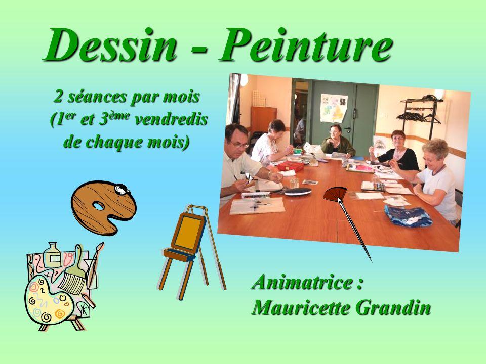 Dessin - Peinture Animatrice : Mauricette Grandin 2 séances par mois (1 er et 3 ème vendredis de chaque mois) (1 er et 3 ème vendredis de chaque mois)
