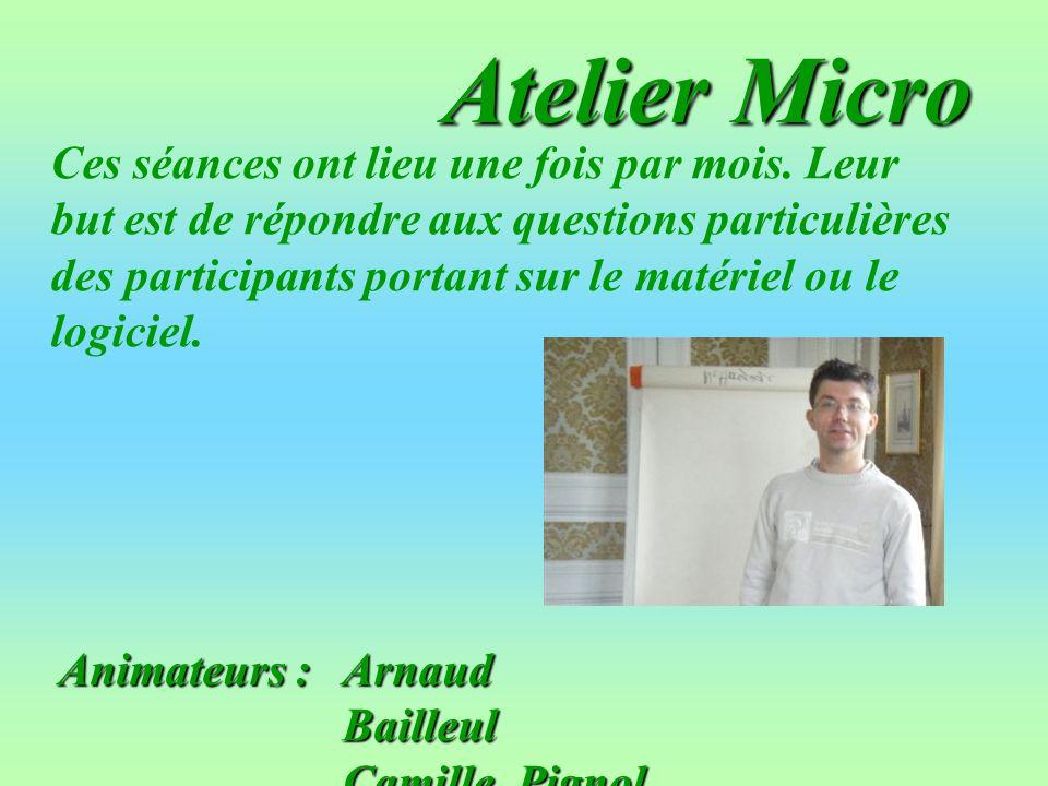 Animateurs :Arnaud Bailleul CamillePignol Atelier Micro Ces séances ont lieu une fois par mois. Leur but est de répondre aux questions particulières d
