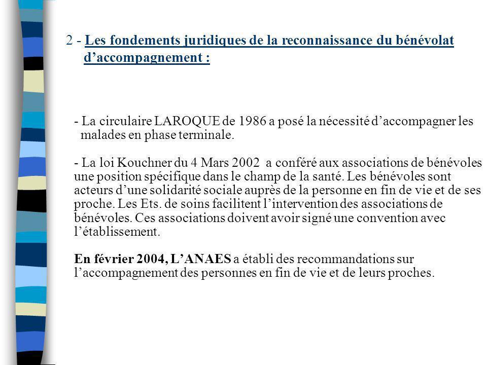 - La circulaire LAROQUE de 1986 a posé la nécessité daccompagner les malades en phase terminale. - La loi Kouchner du 4 Mars 2002 a conféré aux associ