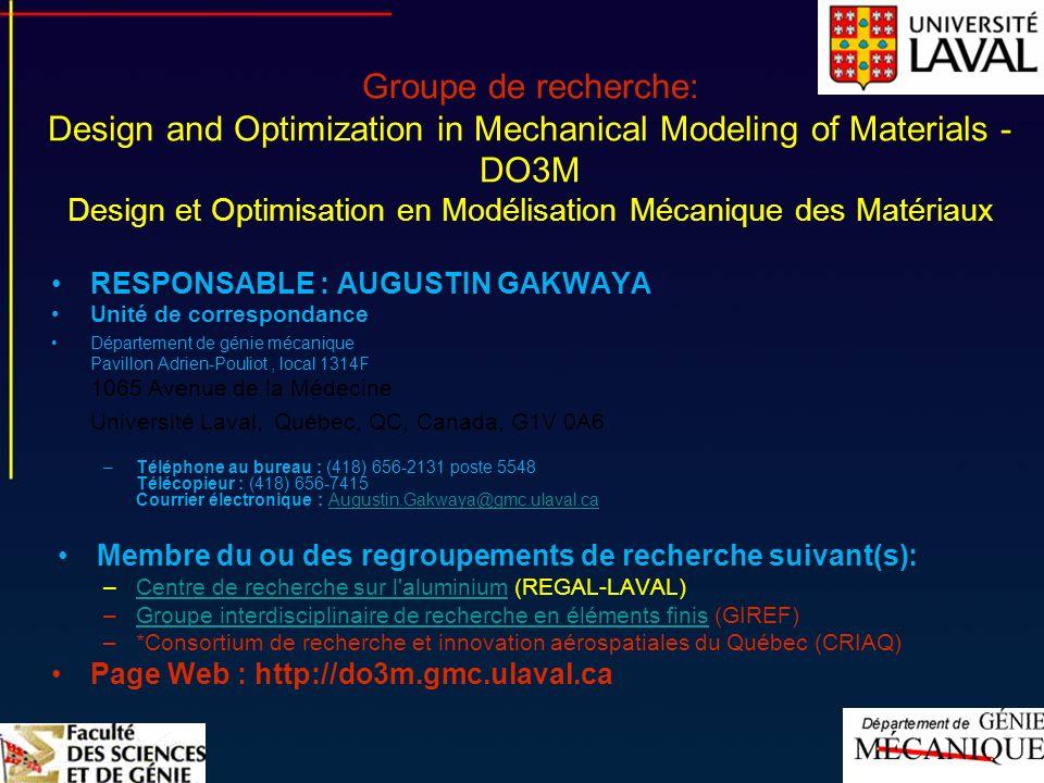 Groupe de recherche: Design and Optimization in Mechanical Modeling of Materials - DO3M Design et Optimisation en Modélisation Mécanique des Matériaux
