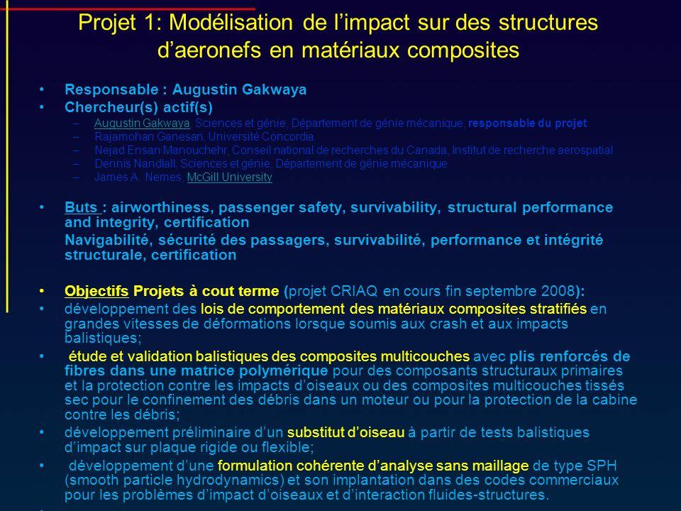 Projet 1: Modélisation de limpact sur des structures daeronefs en matériaux composites Responsable : Augustin Gakwaya Chercheur(s) actif(s) –Augustin