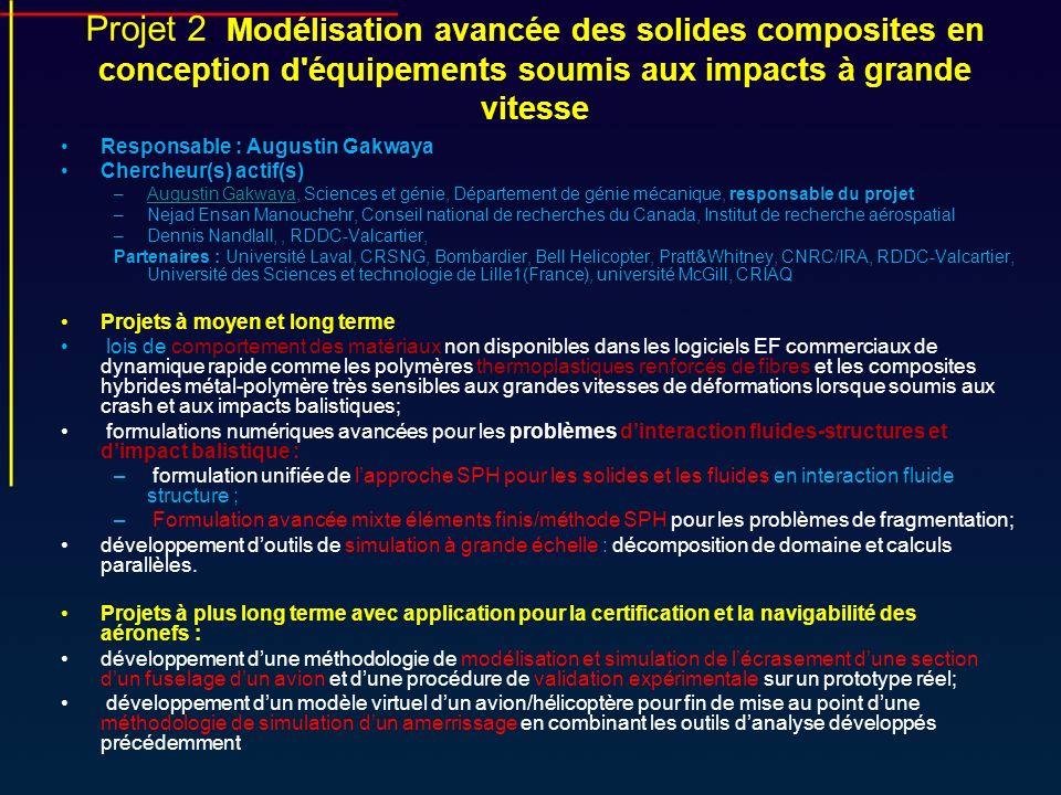 Projet 2: Modélisation avancée des solides composites en conception d'équipements soumis aux impacts à grande vitesse Responsable : Augustin Gakwaya C