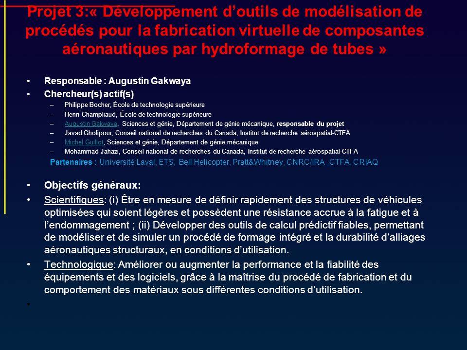 Projet 3:« Développement doutils de modélisation de procédés pour la fabrication virtuelle de composantes aéronautiques par hydroformage de tubes » Re