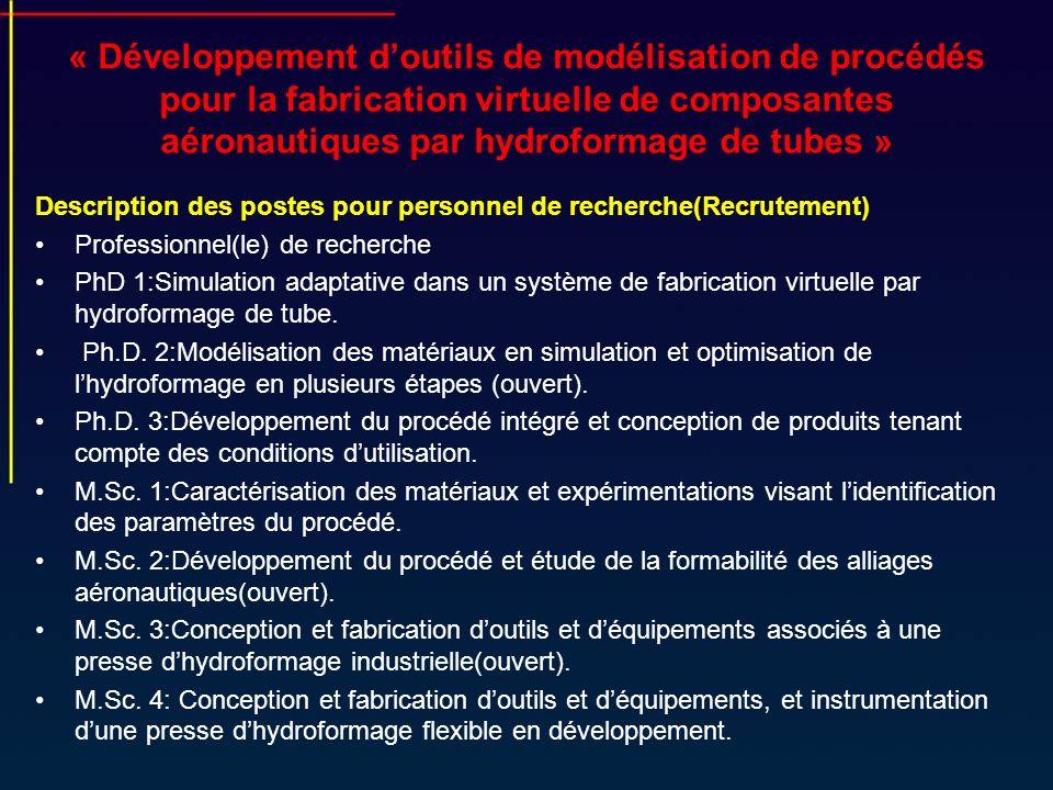 « Développement doutils de modélisation de procédés pour la fabrication virtuelle de composantes aéronautiques par hydroformage de tubes » Description