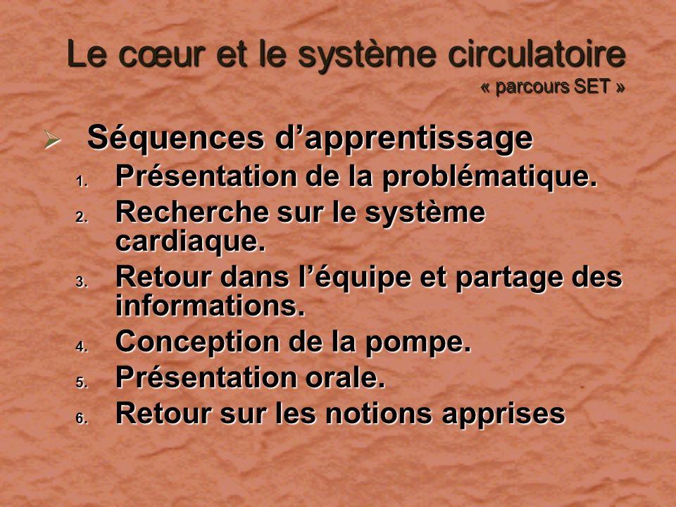Le cœur et le système circulatoire « parcours SET » Le cœur et le système circulatoire « parcours SET » Séquences dapprentissage Séquences dapprentiss