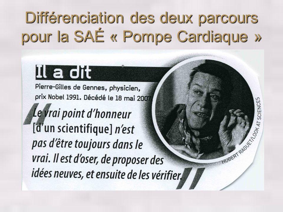 Différenciation des deux parcours pour la SAÉ « Pompe Cardiaque »