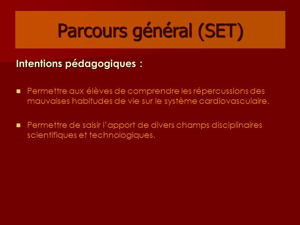 Parcours général (SET) Intentions pédagogiques : Permettre aux élèves de comprendre les répercussions des mauvaises habitudes de vie sur le système ca