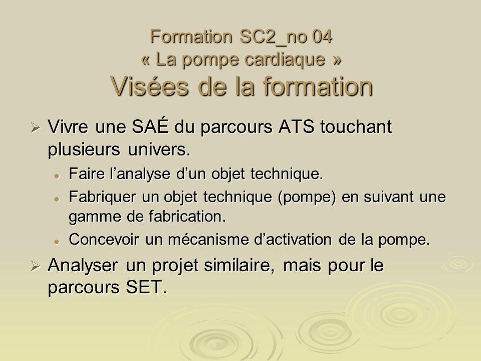 Formation SC2_no 04 « La pompe cardiaque » Visées de la formation Vivre une SAÉ du parcours ATS touchant plusieurs univers. Vivre une SAÉ du parcours