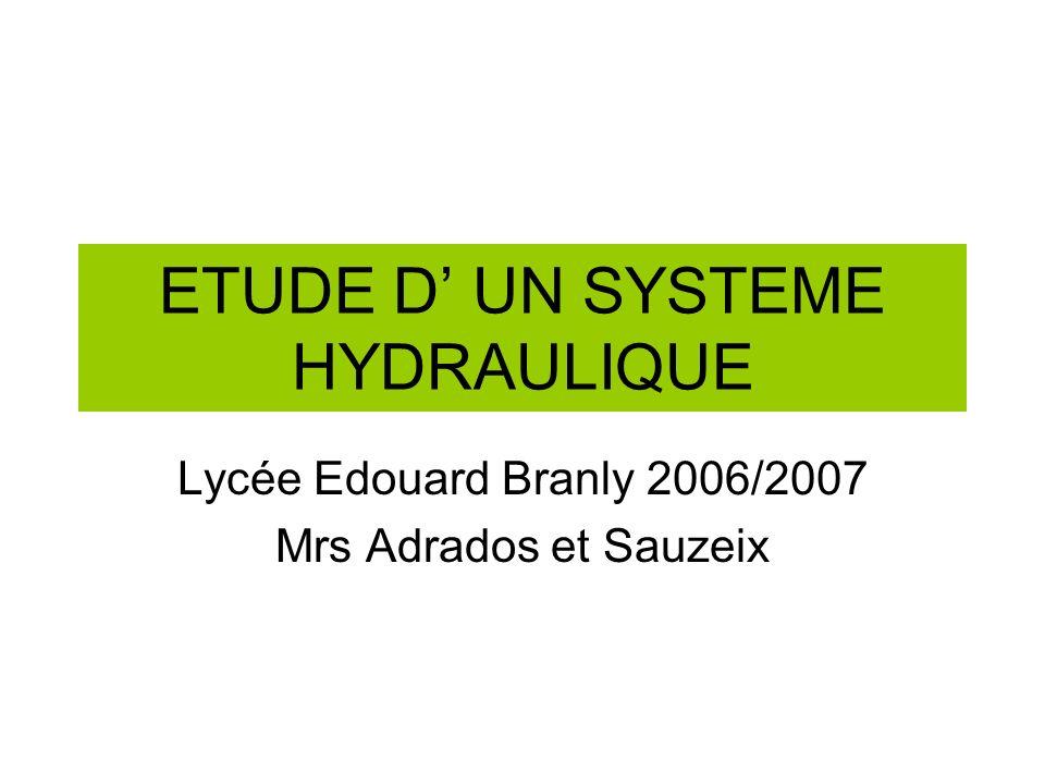 ETUDE DUN SYSTEME HYDRAULIQUE Lycée Edouard Branly 2006/2007 Mrs Adrados et Sauzeix