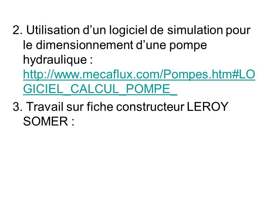 2. Utilisation dun logiciel de simulation pour le dimensionnement dune pompe hydraulique : http://www.mecaflux.com/Pompes.htm#LO GICIEL_CALCUL_POMPE_