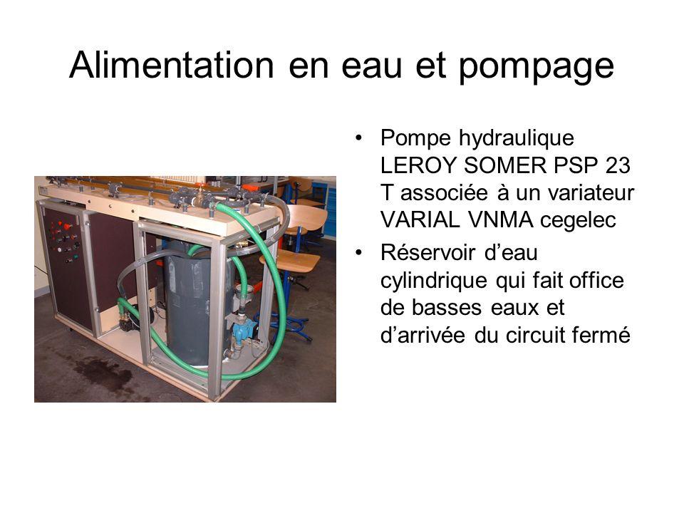Alimentation en eau et pompage Pompe hydraulique LEROY SOMER PSP 23 T associée à un variateur VARIAL VNMA cegelec Réservoir deau cylindrique qui fait