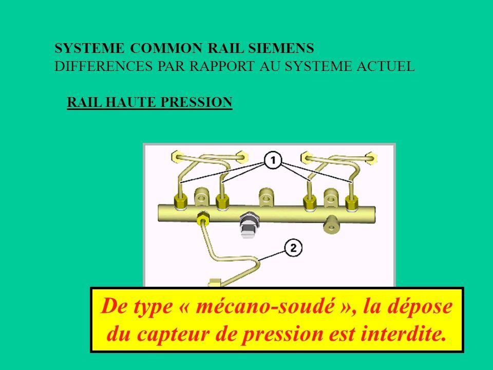 RAIL HAUTE PRESSION SYSTEME COMMON RAIL SIEMENS DIFFERENCES PAR RAPPORT AU SYSTEME ACTUEL De type « mécano-soudé », la dépose du capteur de pression e