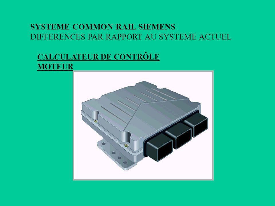 CALCULATEUR DE CONTRÔLE MOTEUR SYSTEME COMMON RAIL SIEMENS DIFFERENCES PAR RAPPORT AU SYSTEME ACTUEL