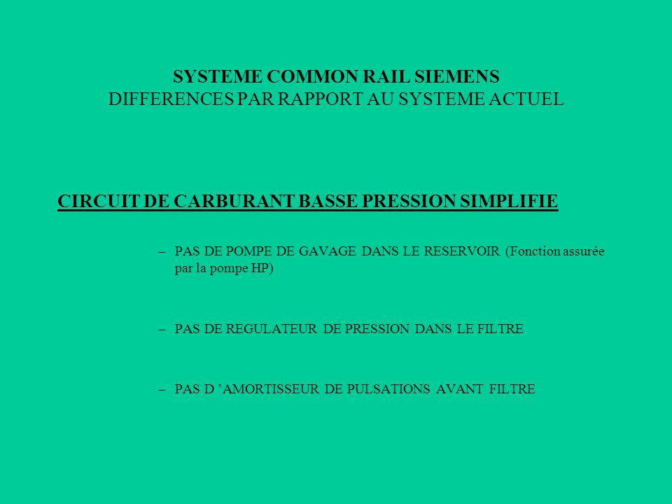 CIRCUIT DE CARBURANT BASSE PRESSION SIMPLIFIE –PAS DE POMPE DE GAVAGE DANS LE RESERVOIR (Fonction assurée par la pompe HP) –PAS DE REGULATEUR DE PRESS